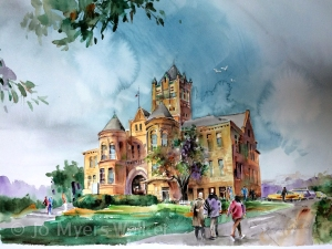 Watercolor painting of the Johnson County Courthouse in Iowa City, Iowa, by artist Jo Myers-Walker