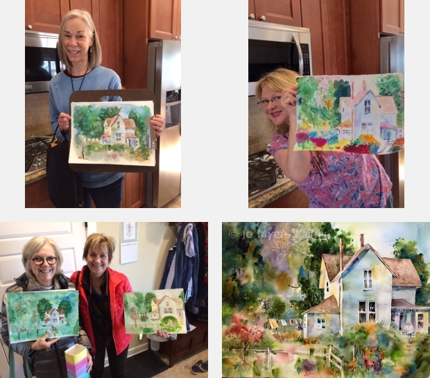 Artists at a watercolor workshop show their work