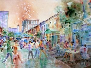 Street scene in front of Prairie Lights Books in Iowa City, watercolor painting by Jo Myers-Walker