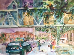 Watercolor painting of skywalk on Dubuque Street in Iowa City by artist Jo Myers-Walker