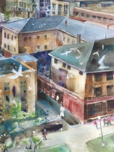 Detail of watercolor Iowa City street scene by Jo Myers-Walker