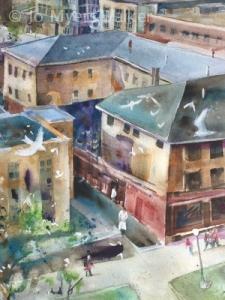 Detail of watercolor Iowa City street scene by Jo Myers-Walker