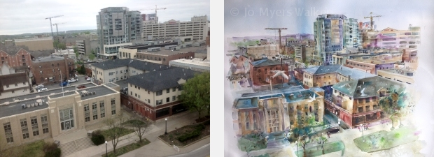 Photo and watercolor of street in Iowa City seen from above, by Jo Myers-Walker