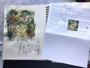 Watercolor sketchbook and written reflections