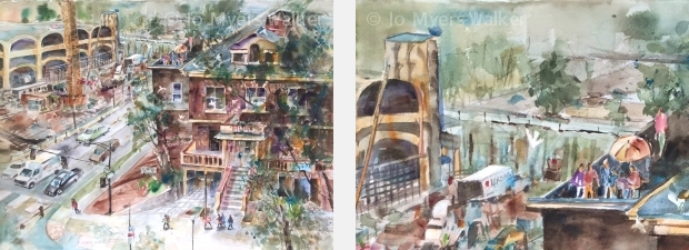 Watercolor street scene of downtown Iowa City seen from above by Jo Myers-Walker