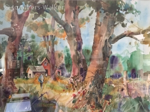 Watercolor painting of yard in the countryside by Jo Myers-Walker