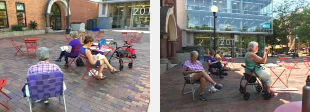 Sketching on the ped mall in Iowa City, July 2017