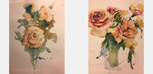Watercolor paintings of roses by Jo Myers-Walker showing progressive layering of color