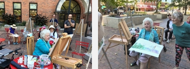 Jo Myers-Walker demonstrating watercolor painting on the pedestrian mall in Iowa City