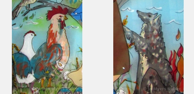 Details from the Canticle sculpture painted by Jo Myers-Walker with legends of St. Francis