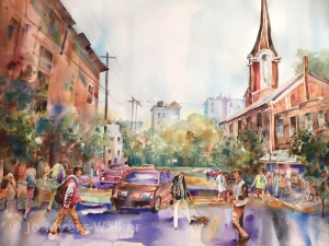 Watercolor painting of Linn Street scene in Iowa City by Jo Myers-Walker