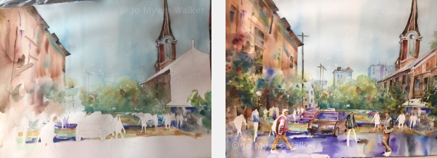 Two in-progress views of watercolor painting of Linn Street scene by Jo Myers-Walker