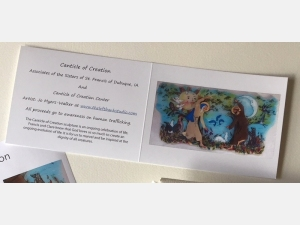 Greeting card with photo of Canticle of Creation sculpture by Jo Myers-Walker