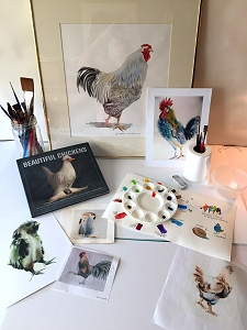 Images of chickens in paintings and a book, alongside art supplies and watercolor exercises