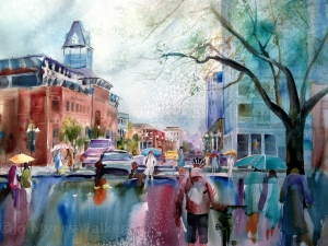 Clock Tower in the Rain, watercolor painting of Iowa City street scene by Jo Myers-Walker