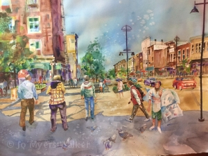 Coming Back to School on Washington Street, watercolor painting of Iowa City street scene by Jo Myers-Walker