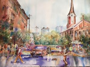 In Between Classes, watercolor painting of Iowa City street scene by Jo Myers-Walker