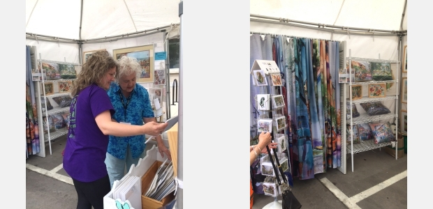 Jo Myers-Walker's artist booth at the 2018 Iowa Arts Festival in Iowa City, IA