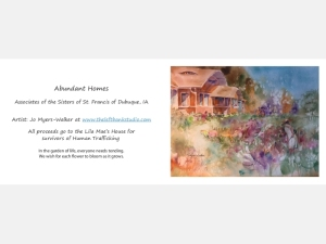 Sample Abundant Homes notecard back and front, with watercolor design by Jo Myers-Walker