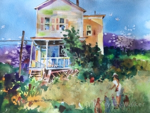 Backyard Chickens, watercolor painting of farmhouse back porch and yard by Jo Myers-Walker