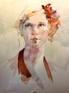 Watercolor painting of a young woman by Jo Myers-Walker