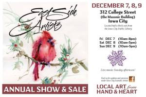 Postcard advertising Iowa City Eastside Artists show and sale, featuring watercolor painting of cardinal bird by Jo Myers-Walker