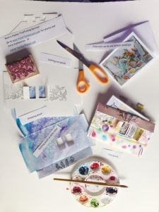 Collage showing the steps involved in making a pouch to hold notecards