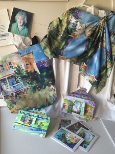Tote bag, scarf, and notecards imprinted with images of watercolor paintings by Jo Myers-Walker