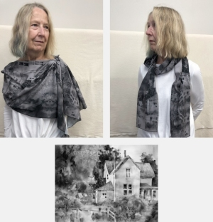 Model wearing scarf printed with greyscale version of watercolor painting Laundry Day by Jo Myers-Walker