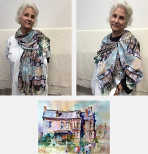 Model wearing scarf printed with watercolor painting Michaela's House by Jo Myers'Walker