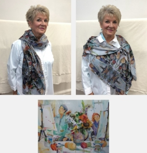 Model wearing scarf printed with images from watercolor painting Painting Class by Jo Myers-Walker