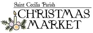 Saint Cecilia Parish Christmas Market logo with candle and evergreen spray