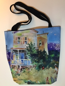 Fabric tote bag digitally printed with image of Backyard Chickens watercolor painting by Jo Myers-Walker