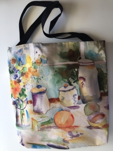 Fabric tote bag digitally printed with image of Breakfast watercolor painting by Jo Myers-Walker