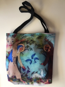 Fabric tote bag digitally printed with image of the Canitcle of Creation sculpture by Jo Myers-Walker