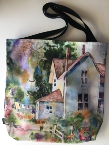 Fabric tote bag digitally printed with image of Laundry Day watercolor painting by Jo Myers-Walker