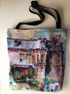 Fabric tote bag digitally printed with image of Michaela's House watercolor painting by Jo Myers-Walker