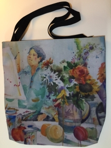 Fabric tote bag digitally printed with image of Painting Class watercolor painting  by Jo Myers-Walker