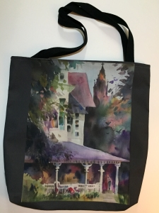 Fabric tote bag digitally printed with image of Purple Porch watercolor painting by Jo Myers-Walker