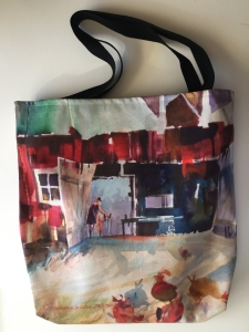 Fabric tote bag digitally printed with image of Red Barn painting by Jo Myers-Walker