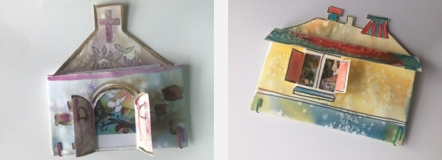Examples of house-shaped pouches made from watercolor paper and decorated by painting and stamping