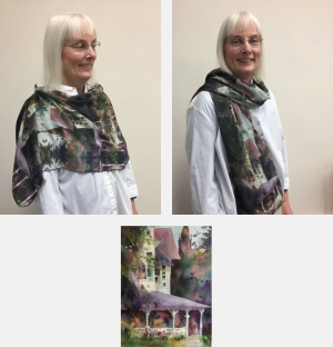 Model wearing scarf printed with images from Purple Porch watercolor painting by Jo Myers-Walker