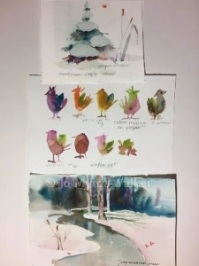 Images illustrating watercolor concepts by artist Jo Myers-Walker