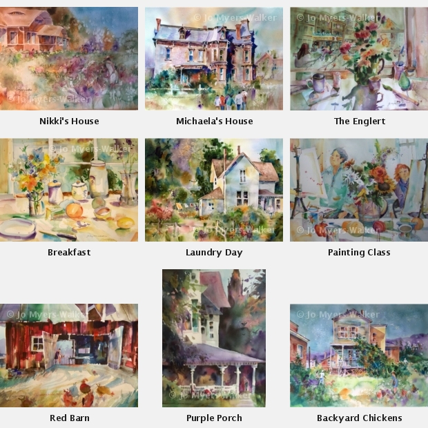 Sample images of watercolor paintings by Jo Myers-Walker used for the Abundant Homes collection