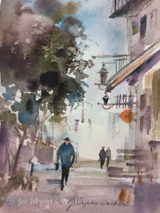 Watercolor sketch of sidewalk scene by Jo Myers-Walker