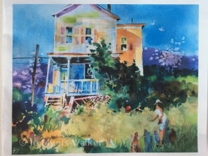 Watercolor painting of back of a house and back yard by Jo Myers-Walker