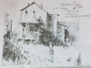 Pencil sketch of house and back yard based on photo