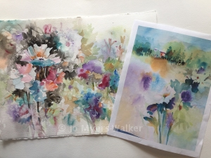 Watercolor images inspired by arrangements of spring flowers