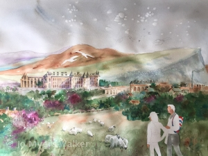 In-progress watercolor painting of vista including Holyrood Palace by Jo Myers-Walker