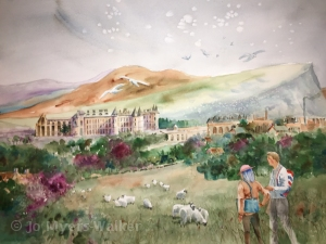 Watercolor painting of vista including Holyrood Palace by Jo Myers-Walker